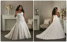 Ball gown Lace up back Lace beaded sash wedding dress Plus size bridal gown#1410