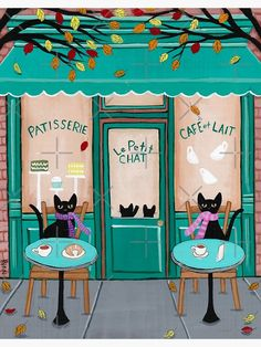 Kitty Cafe, Cat Cafe, Crazy Cat Lady, Crazy Cats, Black Cat Art, Black Cats, Gatos Cats, Photo Chat, Cat Posters