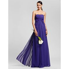 Sheath/Column Strapless Floor-length Chiffon Bridesmaid Dress – EUR € 65.33