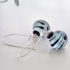 Blue Lampwork Glass Earrings by bstrung on Etsy