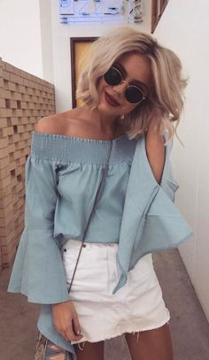Trendy Summer Outfits To Wear Now Blue Off The Shoulder Top + White Denim Skirt White Denim Skirt, Denim Skirt Outfits, Style Outfits, Fashion Outfits, Rock Outfits, Jeans Dress, Fashion Week, Skirt Fashion, Fashion Trends