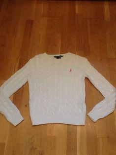 Womens White Cable Knit Ralph Lauren Jumper Sz S Mint Con!!!