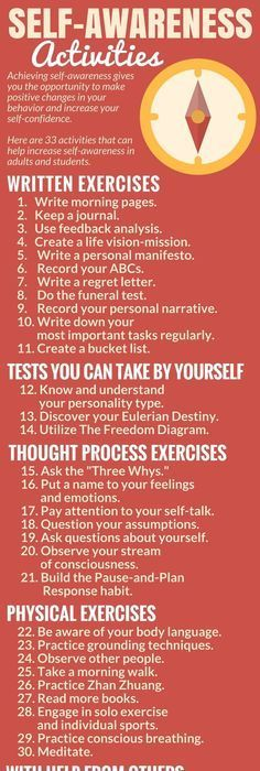 33 activities that increase self-awareness Help activities Self Awareness Meaning, Self Awareness Quotes, Emotional Awareness, Mental Health Awareness, Psychology Quotes, Psychology Careers, Color Psychology, Psychology Experiments, Attitude
