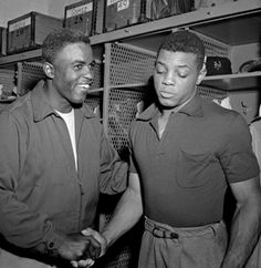 """Jackie Robinson: """"Robinson was important to all blacks. To make it into the majors and to take all the name calling, he had to be something special. He had to take all this for years, not just for Jackie Robinson, but for the nation."""" ~Willie Mays Baseball Star, Baseball Photos, Sports Photos, Baseball Players, Giants Baseball, Football, Baseball Cards, Jackie Robinson, Dodgers"""
