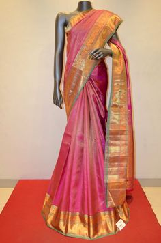 Pink Zari Brocade Kanjeevaram Silk Saree Product Code: AB200199 Online Shopping: http://www.janardhanasilk.com/Saree-Collections/Kanjeevaram-Silk-Saree/Pink-Zari-Brocade-Kanjeevaram-Silk-Saree?limit=25