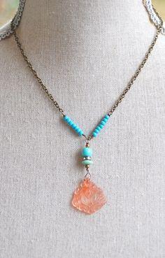 Bohemian sun.vintage beaded,pendant,necklace. Tiedupmemories