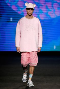 """Krizia Robustella presented her Fall/Winter 2015 collection during 080 Barcelona Fashion.  Title """"Sickly Sweet Bears"""", the collection featured XXL prints, oversize garments, padded neoprene and fur."""