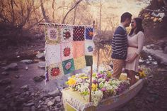 While this is an engagement shoot, I HAD to share.  How awesome is the boat filled with flowers and the knitted flag?