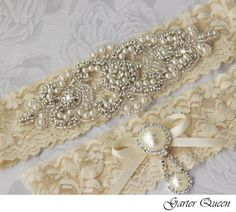 My Garter!!    Bridal Garter Wedding Garter Set Stretch Lace by GarterQueen, $59.99