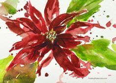 12 Days of Christmas Cards, poinsettia watercolor painting tutorial by Jennifer Branch