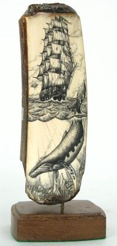 Peter Kinney scrimshaw on ancient walrus ovory