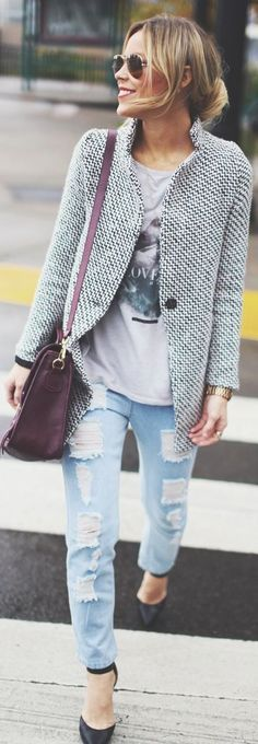 LOVE the collarless tweed jacket and pattern! Not sold on buying jeans with holes.
