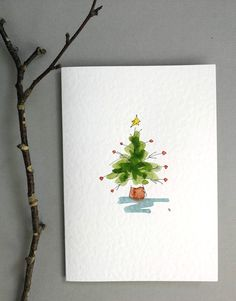 Painted Christmas Cards, Real Christmas Tree, Watercolor Christmas Cards, Beautiful Christmas Cards, Diy Christmas Cards, Watercolor Cards, Xmas Cards, Christmas Art, Handmade Christmas