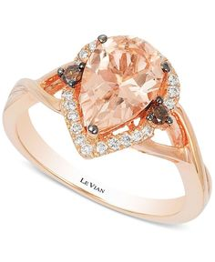 Le Vian ring with 1.33 ct. pear-cut Morganite as its centerpiece. Accents of white and chocolate diamonds.   Crafted from 14k rose gold.