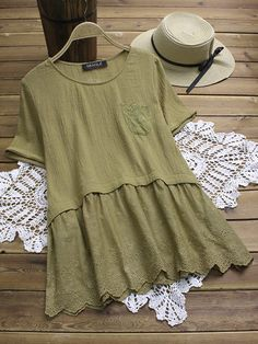 Summer Dress 2019 Women Short Sleeve Stitching Lace Casual O-Neck Dress Solid color dress Beach Dresses Cotton Linen Vestidos Blouse Vintage, Vintage Tops, Satin Crop Top, Casual Formal Dresses, Dress Casual, Moda Chic, Short, Chic Outfits, Latest Fashion Trends