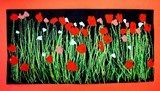 Field of Poppies: Kindergarteners used different shades of green oil pastels to add the grass and stems, and then used small, medium, and large brushes to paint their poppies.: