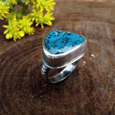 Deep Blue Turquoise Sterling Silver Ring with Pyrite Flecks. Blue Turquoise with Dark Matrix. US Size 7-1/4. Thick Textured Detail Band. by QuietTimeJewelry on Etsy