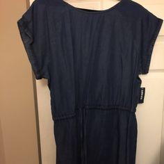 Denim waist tie denim dress Short sleeve, knee length denim dress Old Navy Dresses Midi