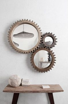 Cog wheel Mirror set for the fireplace. Modern Country sells them. Rustic Wall Mirrors, Mirror Wall Art, Round Wall Mirror, Mirror Set, Round Mirrors, Mirror Collage, Mirror Vanity, Mirror Ideas, Spiegel Design