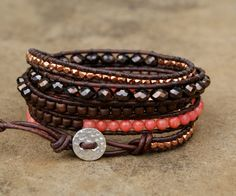 Beaded wrap bracelet, boho chic, Coral ,Tangerine & Brown, rose gold, hipster jewelry, gift for her