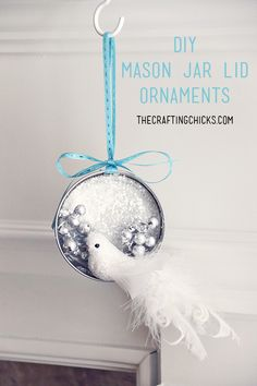 DIY Mason Jar Lid Christmas Ornaments on www.thecraftingchicks.com