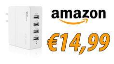 Caricabatterie USB da muro,4 porte , Caricatore portatile 4-Port USB Amz...