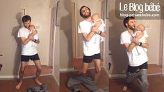 Avec un sens du rythme contestable mais une souplesse incontestable, papa berce son bébé tout en dansant, tout en enfilant son pantalon...