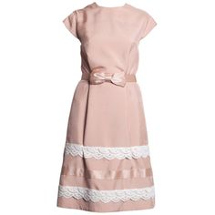 Celestino silk dupioni & crochet dress w/silk bow belt ❤ liked on Polyvore featuring dresses, celestino, pink crochet dress, silk dress, pink silk dress and macrame dress