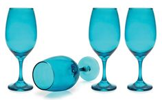 CIRCLEWARE MOONLIGHT 4-PIECE COLORED GLASS WINE SET AQUA - 20 OUNCES - $9.99