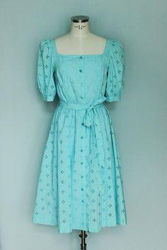 Vintage dirndl dirndl dress eyelet dress blue dress Blue Dresses, Dresses With Sleeves, Dirndl Dress, Eyelet Dress, Etsy, Long Sleeve, Fashion, Kleding, Moda