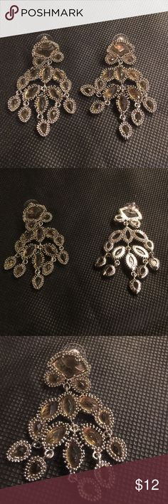 Chandelier earrings Silver and yellow stone, never worn. no brand Jewelry Earrings