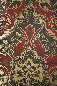 Aldwych Damask Wallpaper Stylish Charcoal Damask Wallpaper with pale gold and crimson motif, embellished with black steel glittered relief.