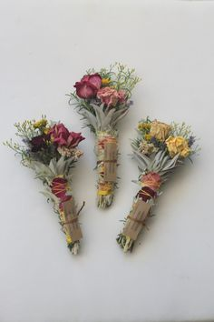 floral smudge wands: rosemary, white sage, lavender, hibiscus, rose petals & whole rose