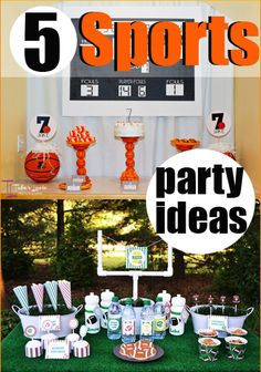 5 Sports Parties.  Awesome party ideas for sports fans.  Perfect ideas for a boy party.  Basketball, Football, Bowling, Lacrosse and Hockey.