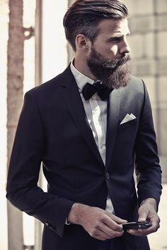 #menstyle #hair #beard #suitcut #fit #bow tie