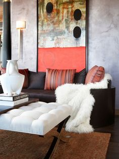 Amazing Accent Pillows For Leather Sofa In The Family Room: Brilliant Accent Pillows For Leather Sofa With Dark Brown Color Combined With Striped Pillows And White Fur Completed With White Table And0Brown Rug Also Wall Lamp Mounted To Textured Wall ~ steffsays.com Contemporary Home Design Inspiration