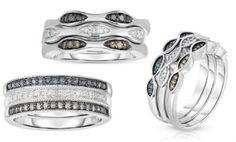 Stackable Diamond Rings in Sterling Silver. Multiple Styles Available... Value Price $300.00... Today Only $69.99... O>M>G