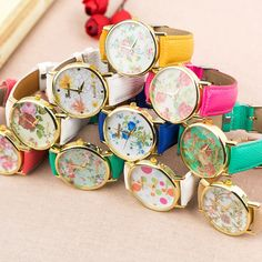 Fashion Multicolor Floral Geneva Watch Ladies Lovely Printing Clock Dress Leather Peonies Dial Girls Watch Relogio De Pulso-in Women's Wristwatches from Watches on Aliexpress.com | Alibaba Group