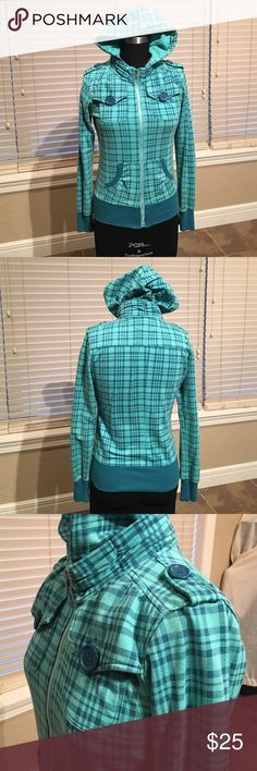 Miss Chievous hoodie Dark and light teal fabric, light weight worn a few times. Fit runs small Miss Chievous Tops Sweatshirts & Hoodies