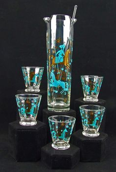 Vintage Retro Mid Century Modern Cocktail Mixer Set Art Glass Turquoise Gold Arabian Horse Rider Five Highball Glasses Glass Stir Stick by RetroCentsStudio on Etsy
