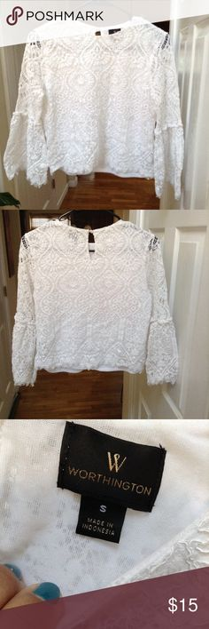 ✨White Crotchet Bell Sleeve Blouse✨ ✨Stylish Lace Top✨Fully Lined✨Bell Sleeves Worthington Tops Blouses