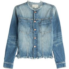 Current/Elliott Frayed Jean Jacket ($405) ❤ liked on Polyvore featuring outerwear, jackets, blue, long sleeve jacket, blue denim jacket, fitted jean jacket, jean jacket and blue jackets