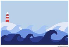 Pittura Murale - Faro e oceano graphic design.