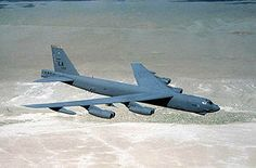A B-52H from Barksdale AFB flying over the desert