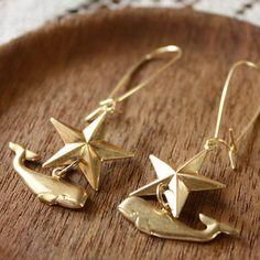 beyond the sea/whale + star earrings