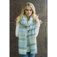 """Bethany Livingston's - Gardner, extra long scarf, A stunning marled knit over sized scarf in multi-color hues of blues/ greens/ and our luxurious khaki/white and features a generous measurements of 98"""" x 15""""   By far my Favorite"""