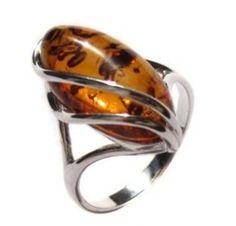 Honey Amber and Sterling Silver Designer Ring