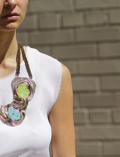 ANNDRA NEEN   Wire Necklace w/ Stones