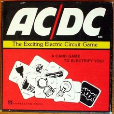 AC/DC**The Exciting Electric Circuit Game (A Card Game To Electrify You!) by Ampersand Press. A fun way to understand electric circuits! 84 cards, each representing a part of an electric circuit. First player to finish putting together his circuits-before his opponents shock or short him out, wins! An engaging way to learn about electric circuits. For experts too. Directions and easy explanation of electric circuits are included. 2-6 players. Ages 9 to Adult