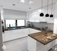 Kitchen Room Design, Modern Kitchen Design, Kitchen Interior, Kitchen Decor, Modern U Shaped Kitchens, Luxury Kitchens, Home Kitchens, Home Building Design, Living Room White